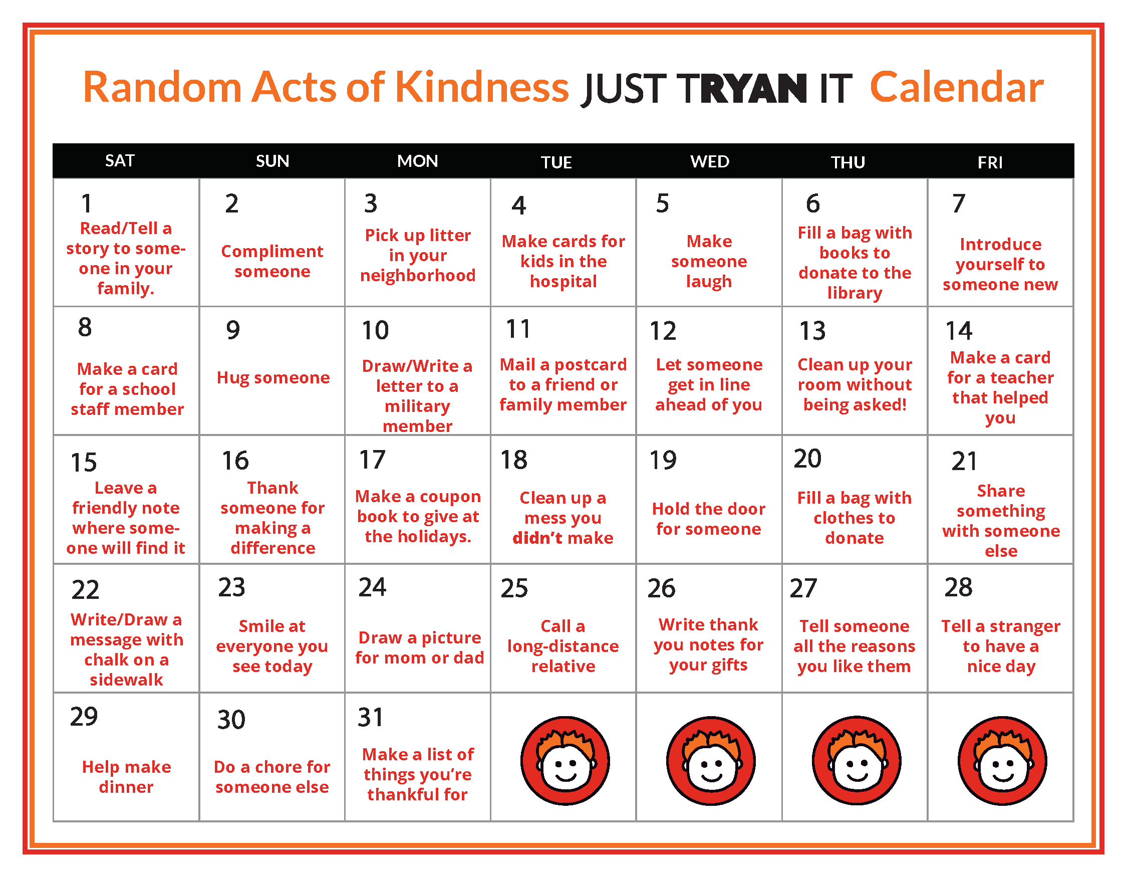 Random Acts of Kindness Calendar